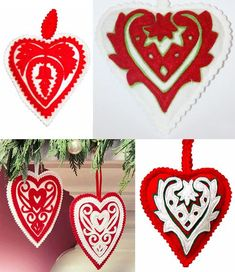We [heart] Old World Hungary Holiday Traditions Christmas Ornament Crafts, Felt Ornaments, Christmas Crafts, Christmas Decorations, Holiday Decor, Heart Decorations, Merry Christmas, Chain Stitch Embroidery, Learn Embroidery