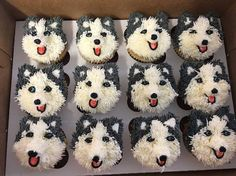DIY Cupcakes That Your Guests Will Find Amazing! Husky Dog Cupcakes…these are the Cutest Cupcake Ideas! Puppy Cupcakes, Bear Cupcakes, Puppy Cake, Animal Cupcakes, Cupcake Cakes, Big Cupcake, Birthday Cupcakes, Kahlua Cupcakes, Lemon Cupcakes