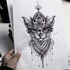 Потрясающий узорный кот от Andre Felipe | Эскизы-тату.рф