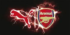 The logo for the launch of Arsenal's home kit by Puma for season 2015/16 at Emirates Stadium on June 15, 2015.