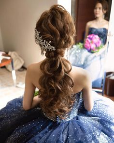 36 Perfect Hairstyles for Long Thin Hair (Trending for - Style My Hairs Ponytail Bridal Hair, Ponytail Hairstyles, Bride Hairstyles, Bombshell Curls, Long Thin Hair, Side French Braids, Blonde Color, Gorgeous Hair, Hair Lengths