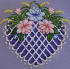 Blue Heart Parchment Card Close Up