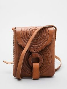 Guatemalan tooled leather sling-across bag. Perfect for summer!