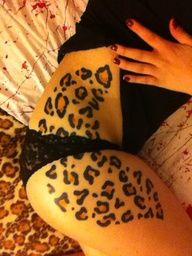 Leopard print tattoo... now to somehow integrate this in the background of my stars and make it one big side piece...