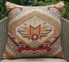 Handmade Decorative Multi-Color Aztec Southwestern Throw Pillow Red Green Taupe Orange Brown - Pillow Cover 20 x 20 by TheCowPelt