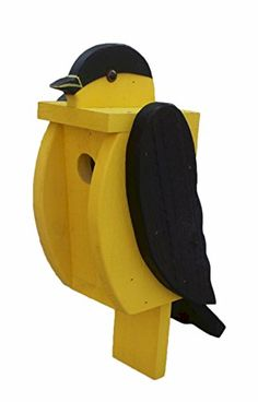 BIG BOLD & BEAUTIFUL Amish Handmade American Goldfinch Solid Wood Bird House What an awesome, unique bird house. Extremely solid piece looks fantastic mounted on a fence post, etc. Bird House Plans, Bird House Kits, Bird House Feeder, Bird Feeders, Wood Projects, Woodworking Projects, Wooden Bird Houses, Birdhouse Designs, Bird Aviary