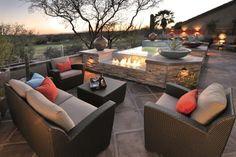 Rattan Outdoor Möbel-Sitzgruppe ideen Kaminofen-Prideaux Design