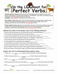 Fifth Grade Grammar Worksheets: Perfect Verb Tense Worksheet