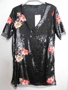 NWT ZARA Black Embroidered and Sequinned Floral Dress Tunic SIZE S Ref.3440/266 #ZARA #TunicDress #PartyCocktail