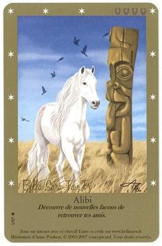 Alibi is a pure white horse with a faded red spiral marking on her right flank. The flock of birds symbolizes community. Fantasy Creatures, Mythical Creatures, Bella Sara, Rodin Drawing, Horse Cards, Horse Illustration, Horse Artwork, Unicorn Art, Beautiful Fantasy Art