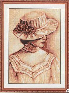 0 point de croix sépia femme au chapeau - cross stitch lady with hat
