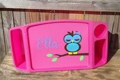 Personalized Owl Lap Tray by TreasuresTransformed.org. Ten percent of all sales go to help victims of human trafficking.