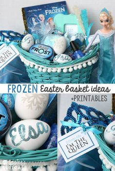 Frozen Easter Basket Ideas + free printable tags! #disney #Frozen #easter #basket #DIY
