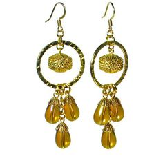 Gold Chandelier Earrings with Amber Bead Dangles by BluKatDesign, $22.00