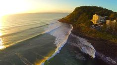 Glowing waves at Burleigh Heads on the Gold Coast, shot from DJI Phantom Drone over easter long weekend.