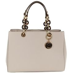 Michael Kors Women's Cynthia Vanilla Cream Leather Satchel Bag ($445) ❤ liked on Polyvore