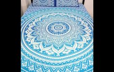 Bedspreads – Indian Mandala Queen Size Duvet Cover With Cushion – a unique product by IndianCraftPalace on DaWanda