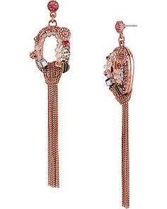 OVAL MULTI CHAIN EARRING PINK