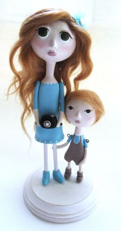 *PAPER CLAY ~ Custom Art Doll  OOAK-  Paper clay sculpted- Mother and son.