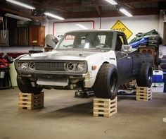 🤓😂 bringing her into the air with my poor man's lifts for some under bed and cab projects, coming soon! Small Trucks, Mini Trucks, Cool Trucks, Nissan Trucks, Chevy Trucks, Pickup Trucks, Vw Caddy Mk1, Vw Mk1, Custom Trucks
