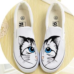 Flat Shoe Lovely Cartoon Cat Hand Painted