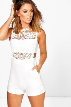 Boutique Amy Crochet Barely There Playsuit