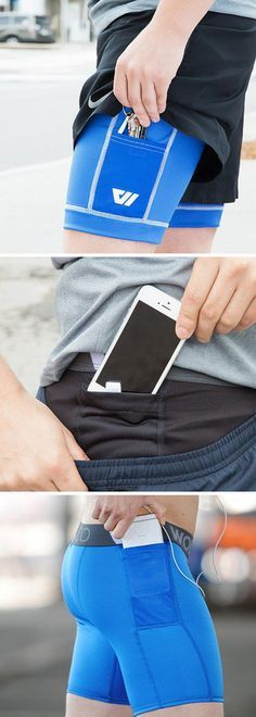 Men's compression running shorts with two waterproof pockets. Keep your keys, phone, cash, and ID secure and dry even on a sweaty run. Innovative running gear.