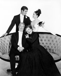 Portrait of Leslie Caron, Louis Jourdan, Maurice Chevalier and Hermione Gingold for Gigi directed by Vincente Minnelli, 1958