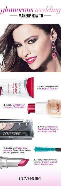 Follow this step-by-step guide to glamorous wedding beauty. Use Outlast All-Day Primerpaired with Outlast Stay Luminous Foundation for a flawless finish. Then use COVERGIRL's Eyeshadow Quads in Stunning Smokeys, and finish the look with The Super Sizer Waterproof Mascara. Lavish your lips with Outlast Lipstick in Into The Fuchsia to really make a statement