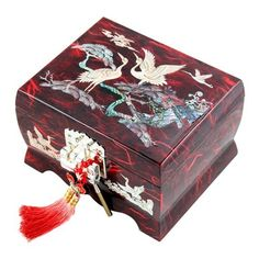 Mother Of Pearl Wooden Lacquer Music Jewelry Gift Treasure Trinket Case Box Container Storage With Crane In Red Mulberry Paper