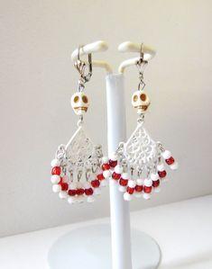 Day of the Dead Wedding Earrings Sugar Skull by sweetie2sweetie
