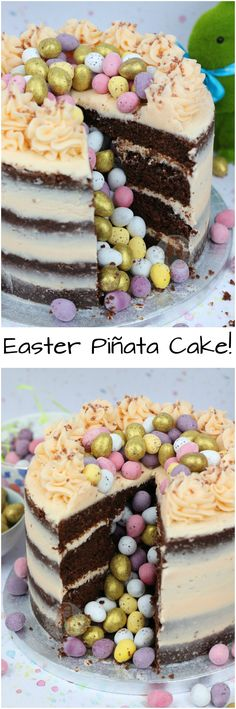 Easter Piñata Cake!! A Four Layer Chocolate Cake with Vanilla Buttercream and Oodles of Hidden Easter Treats!