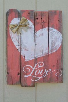 Pretty painted heart wood pallet sign