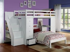 """The Ari Loft bed is a well designed, multi-functional selection for your child. So much storage with 5 drawers and a bookshelf staircase, can't forget about the side desk that serves as a great place do homework or doodle! Twin size loft bed. Bottom twin bed shown is available (Ari Twin Bed) Dimensions: 79"""" x 42"""" x 66""""H"""