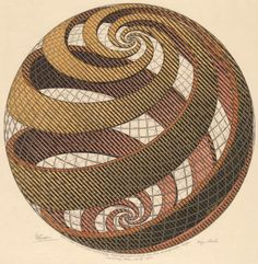 "Artwork: Dutch artist Maurits C. Escher (1898-1972) was a draftsman, book illustrator, tapestry designer, and muralist, but his primary work was as a printmaker. M.C. Escher, ""Sphere Spirals,""1958  #Escher #Geometry #math #art  #artsintegration #steam"