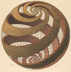 "Artwork: Dutch artist Maurits C. Escher (1898-1972) was a draftsman, book illustrator, tapestry designer, and muralist, but his primary work was as a printmaker. M.C. Escher, ""Sphere Spirals,""1958"