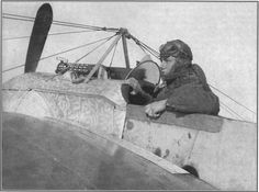 A Bulgarian pilot in the cockpit of a Fokker Eindecker.
