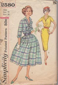 1950's Misses' Dress With Tie Simplicity 2580 Size 18 Bust 38