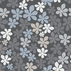 tapeta ROSTA se vzorem květin, šedá, bílá, modrá, zlatá