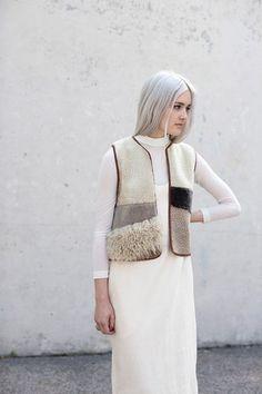 Milena Silvano Sheepskin Patchwork Diamond Vest