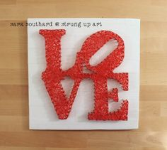 LOVE String Art by strungupart on Crafts For Girls, Diy Arts And Crafts, Diy Crafts, String Art Patterns, Picture Hangers, Crafty Craft, Crafting, Love Craft, Craft Night