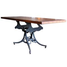 Large Adjustable Industrial Table  USA, 1920's, 1st dibs