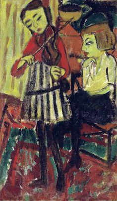 Erich Heckel (Germany 1883-1970)Geigerin - Violinist(1912)oil on burlap 92 x 54.6cm