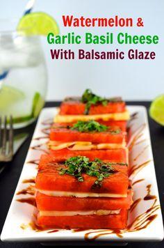 Watermelon and Cheese Napoleon #vegetarian #appetizer #summer #kosher #sincerelyBrigitte #cheese  #watermelon
