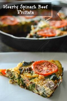 Hearty Spinach Beef Frittata | stupideasypaleo.com. Click here for the recipe: stupideasypaleo.com/2013/08/01/hearty-spinach-beef-frittata/ #paleo #breakfast