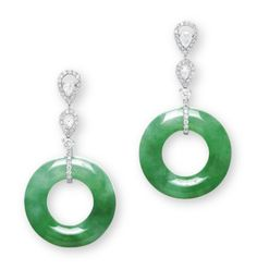A PAIR OF JADEITE AND DIAMOND EAR PENDANTS  EACH SUSPENDING A JADEITE HOOP OF BRIGHT GREEN COLOUR AND VERY GOOD TRANSLUCENCY, TO THE BRILLIANT-CUT DIAMOND LINK AND SURMOUNT WITH PEAR-SHAPED ROSE-CUT DIAMOND DETAIL, MOUNTED IN 18K WHITE GOLD, LARGEST HOOP DIAMETER APPROXIMATELY 25.0 MM, LARGEST HOOP THICKNESS APPROXIMATELY 6.4 MM, EAR PENDANTS 4.8 CM LONG