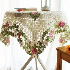 S & V bordado manteles navidad rectangular mesa de tela toalhas de mesa mantel de encaje