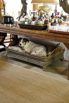 Bar w dog bed! Bunny Williams' collection for Ballard Designs. Have drinks and finger foods ready at a buffet. Serve dinner within 45 minutes. Ballard Designs, Drinks Tray, Beverages, Bars For Home, Nooks, Vignettes, Beautiful Homes, House Beautiful, Family Room
