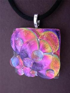 Bubbadubba 3 Dichroic Fused Glass Pendant TL Gallego | eBay