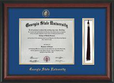 GSU Diploma Frame-Rosewood-w/GSU Seal-Tassel-Royal Blue on Gold mat – Professional Framing Company